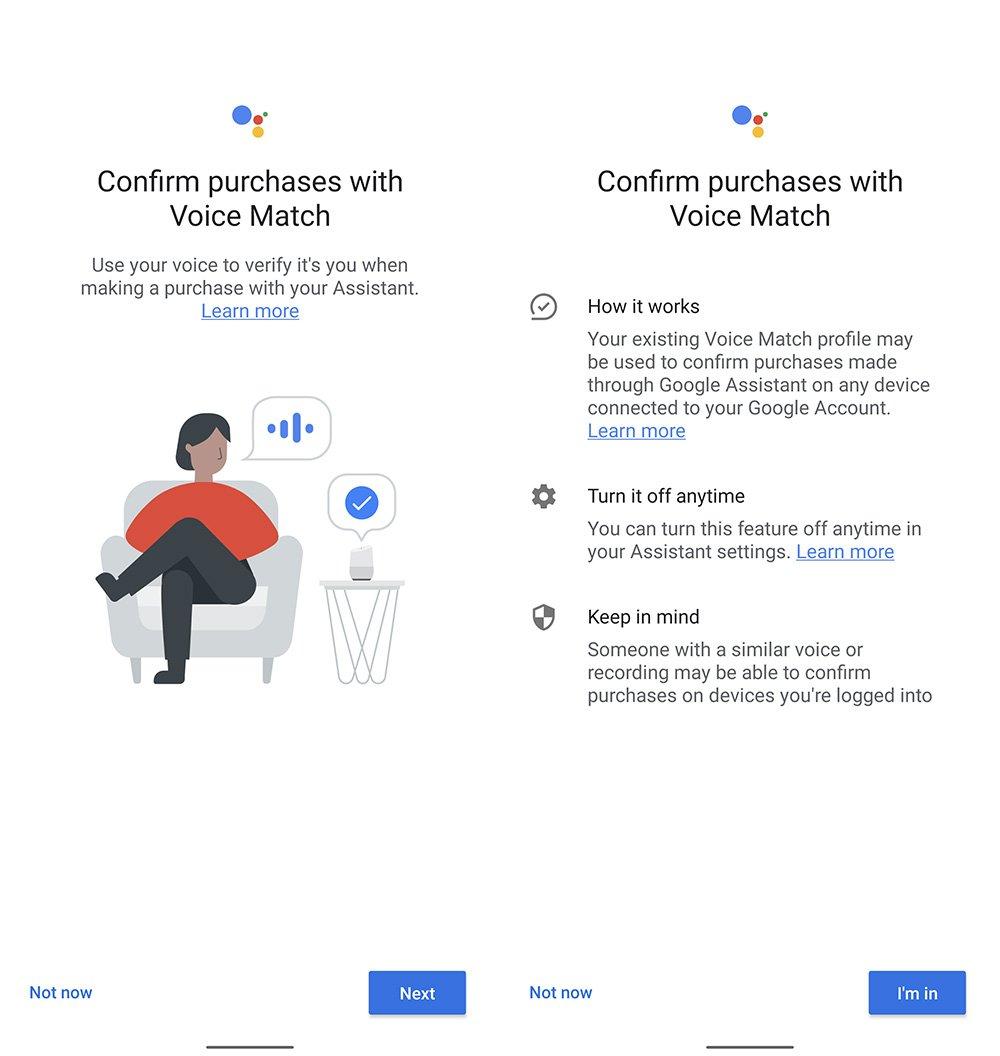 confermare l'acquisto con Voice Match
