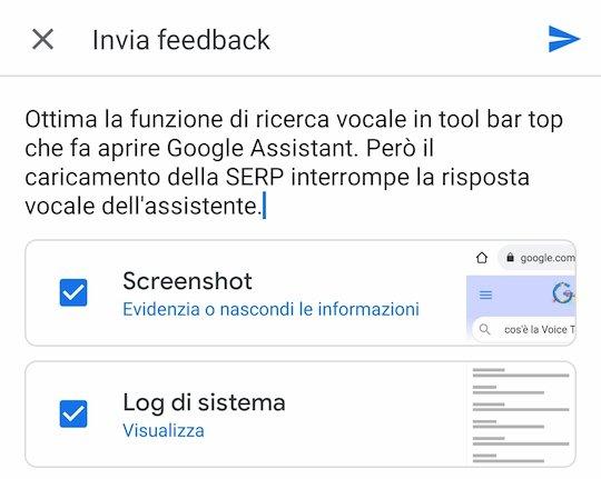 Feedback per la ricerca vocale su Chrome