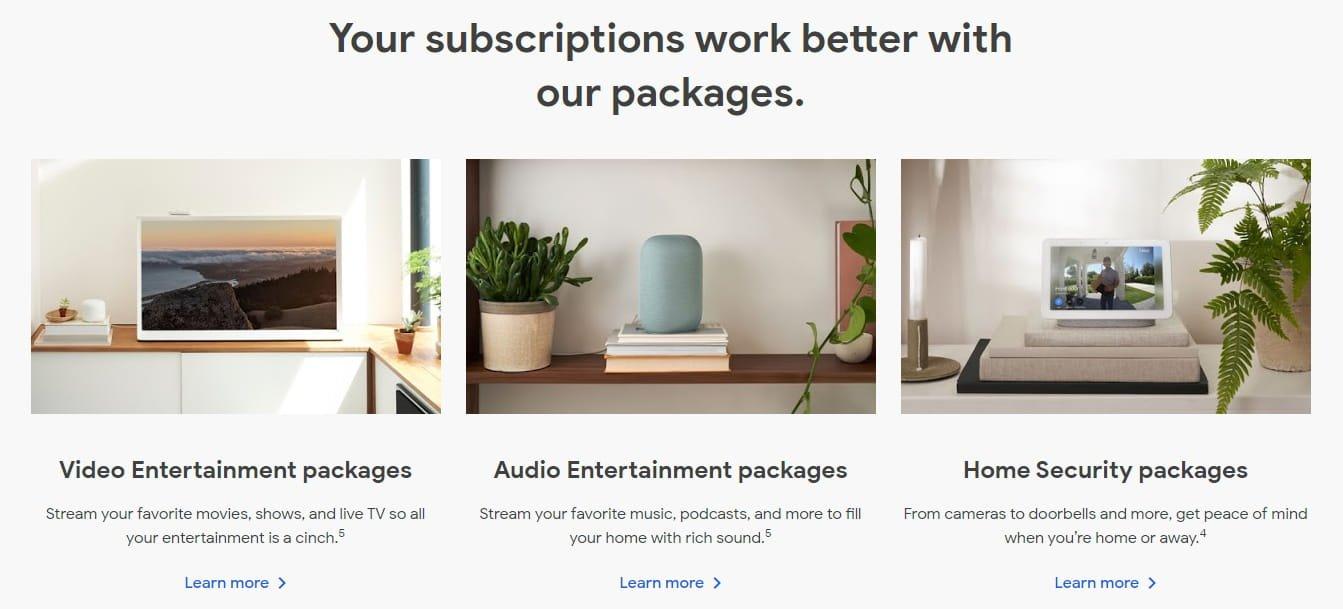 I pacchetti con l'hardware: Google Store: subscriptions