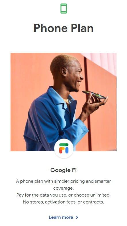 Phone Plan - Google Store: subscriptions