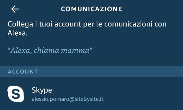 Chiamare con Alexa: associazione con Skype