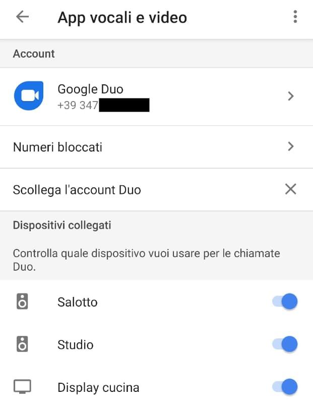 Chiamare Google Home attraverso Duo: configurazione