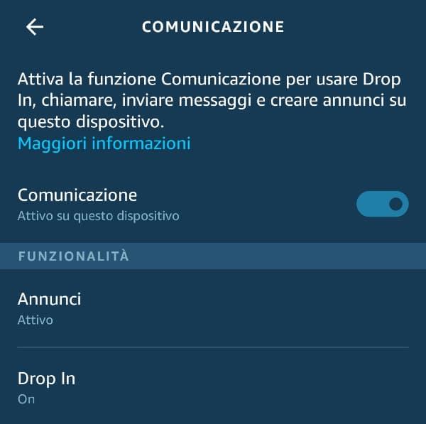 Drop-in su Alexa: comunicazione