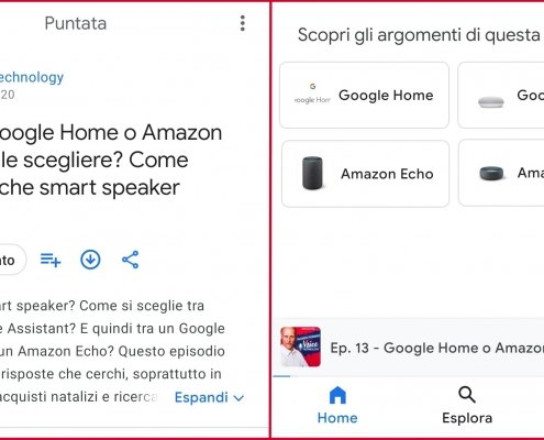 Google Podcasts mostra gli argomenti della puntata